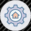 building, cog, gear, home, house, option, real estate