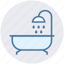 bath, bath tub, douche, shower, shower tub, tub, wash icon