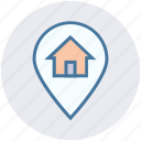 home, house, house location, location, location pin, map pin, real estate icon