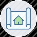 apartment, architecture, blueprint, house, house plan, plan, real estate icon