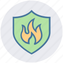 antivirus, emergency, fire, fire protection, firewall, protection, shield icon