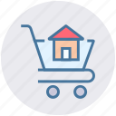 cart, concrete cart, construction, house, house cart, house in cart, real estate icon