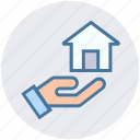 hand, home, house, house in hand, property insurance, real estate, share