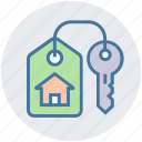 apartment, home, house, house key, key, lock, real estate icon