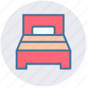 bed, bedroom, furniture, interior, room, single bed, sleep icon