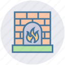 burning, fire, fireplace, heat, home, house, warm icon