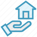 hand, home, house, house in hand, property insurance, real estate, share icon