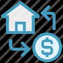 dollar, exchange, home, house, money, real estate, transaction icon