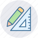 geometry, mathematics, pencil, pencil and ruler, ruler, triangle, triangle ruler icon