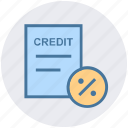 credit, discount, document, interest, paper, percentage icon