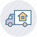 delivery, pickup truck, real estate, shipping, transportation, truck, vehicle icon