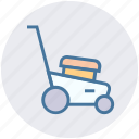 garden, gardening, grass, green, lawnmower, machine, mowing icon