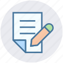 document, file, page, paper, pen, pencil, sheet icon