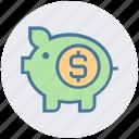 cash bank, dollar, dollar coin, money, piggy, piggy bank, saving icon