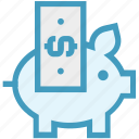cash bank, dollar, dollar note, money, piggy, piggy bank, saving icon