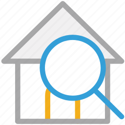 home, magnifier, real, search icon