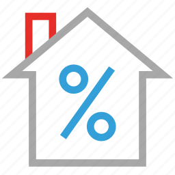 estate, house, percentage sign, real icon