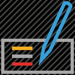 pencil, receipt, text, write icon