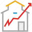 ascending line, house, real estate, value icon