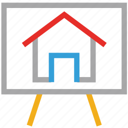 art work, canvas easel, easel, house on canvas icon