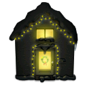 lights, christmas, snowy, house icon