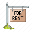 banner, plate, pointer, post, rent, room, signboard