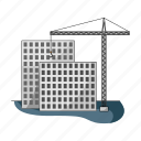 apartment, building site, construction, crane, house, real estate, skyscraper icon