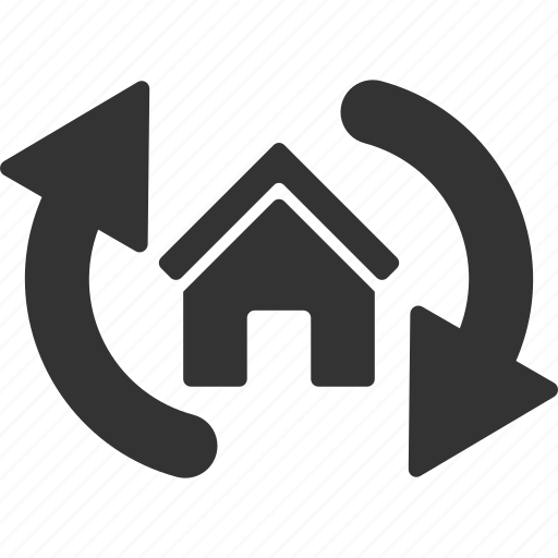 building, house, real estate, realty, refresh, sync, update icon
