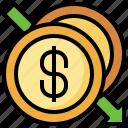 coin, finance, drop, dollar, money