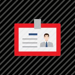 employee, employment, identity card, job, name tag, recruitment, work icon