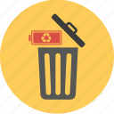 battery, bin, conservation, ecology, energy, environment, green, power, recycle, recycling icon