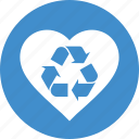 conservation, ecology, environment, green, heart, love, recycle, recycling icon