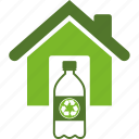 bottle, conservation, ecology, environment, green, home, house, plastic, recycle, recycling, water icon
