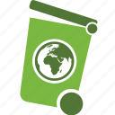 bin, delete, earth, ecology, environment, globe, recycle, remove, trash, waste icon