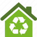 building, conservation, ecology, environment, estate, green, home, house, packaging, recycle, recycling icon