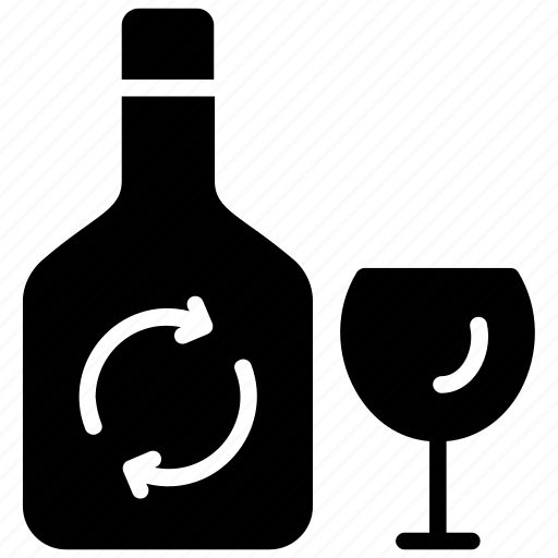 alcohol, glass bottle, glass recycling, reusable glass, wine bottle icon