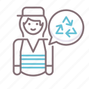 collector, female, garbage icon