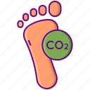 dioxide, carbon, footprint icon