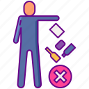 waste, no, littering icon