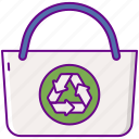 bag, recycled, recycle icon