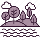 ecology, environment, forest, nature, river, scenery, water icon