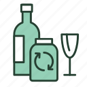 bottle, ecology, glass, jar, recycle, recycling, trash icon