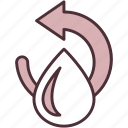 clean, drop, eco, organic, processed, purified, water icon