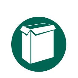 food boxes, paperboard, recycling icon