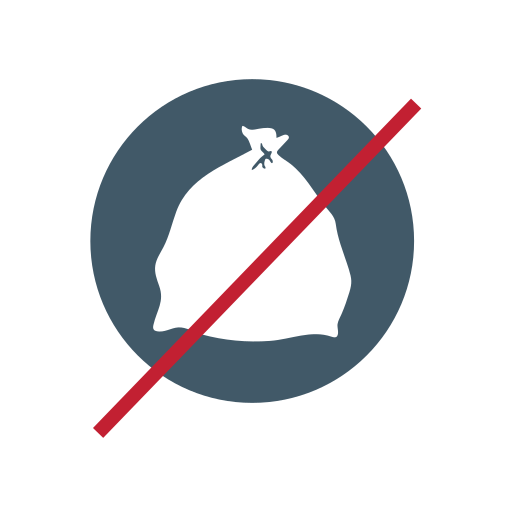 no bagged garbage, no bagged recyclables, no bags, trash icon