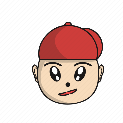 cartoon, cute, emoji, expression, face, head, red icon