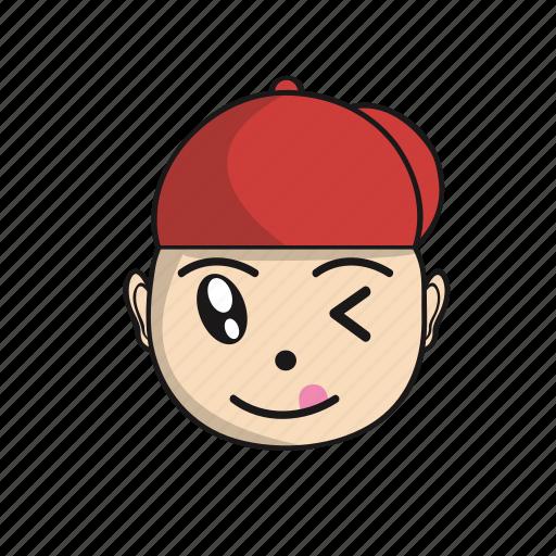 cartoon, cute, emoji, expression, face, head, red icon