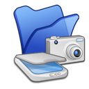 &, blue, cameras, folder, scanners icon