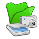 &, cameras, folder, green, scanners icon
