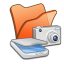 &, cameras, folder, orange, scanners icon